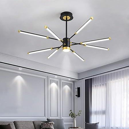 Modern LED Chandeliers,Garwarm 8-Lights Sputnik Pendant Lighting,Flush Mount Ceiling Hanging Lamp Fixture for Bedroom Livingroom Dinning Room,Black+Gold