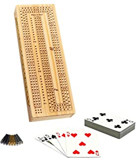 WE Games 3 Player Wooden Cribbage Set - Easy Grip Pegs and 2 Decks of Cards Inside of Board - Natural Wood