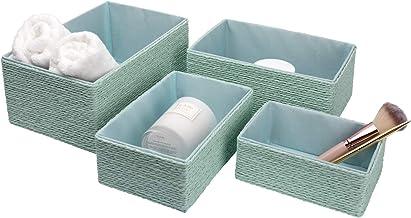 La Jolíe Muse Paniers Rangement en Papier Écologique Boîte de Rangement pour Placard Chambre Maison Décoration Lot de 4,Ve...