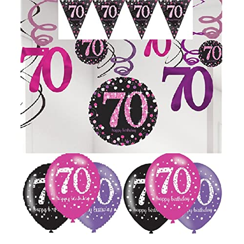 Party 70th Birthday Decorations Pink Bunting Balloons Hanging