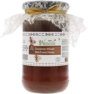 Farm Naturelle-Real Cinnamon Infused 100% Pure Raw Natural Wild Forest Honey-(1 KG Glass Bottle) -Delicious and Healthy