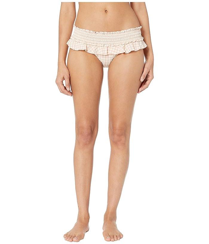 Tory Burch Swimwear Gingham Skirted Bikini Bottoms (Pink Quartz/New Ivory) Women