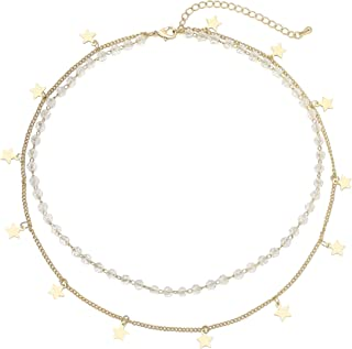 QINJIEJIE 14K Gold Plated Layered Choker Necklaces for Women, Dainty Y-Necklaces Stainless Steel Fashion Clavicle Personal...