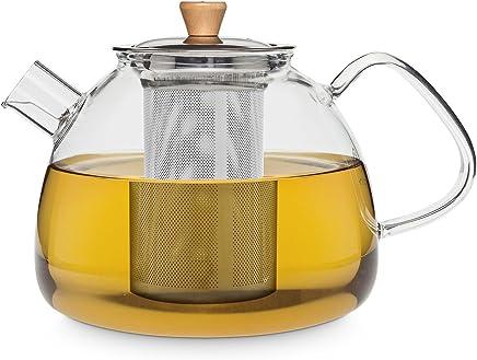 """Buntfink """"TeaPot"""" Teekanne aus Glas mit Sieb für 1.200 ml, die Glasteekanne mit Siebeinsatz ist aus Borosilikatglas und hat einen herausnehmbaren Filter (Edelstahlsieb) preisvergleich bei geschirr-verleih.eu"""