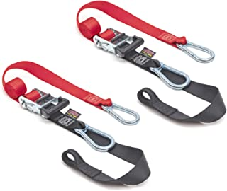 PowerTye 1½ x 6½ft Heavy-Duty Ratchet Tie-Downs, Made in USA with Soft-Tye and Carabiner Hooks, Red/Black (pair)