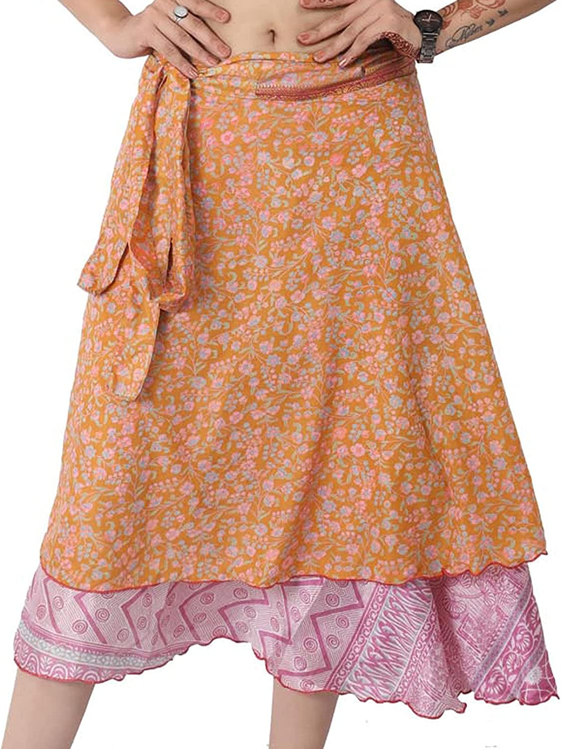 Wevez Pack of 3 Pcs Original Two Layer Printed Wrap Around Skirts