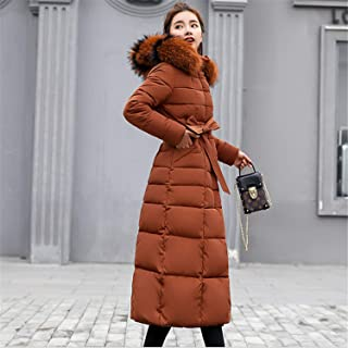 Women's Down Coat with Hood Thicker Winter Slim Down Jacket Long Puffer Jacket Lady Long Orange XXXL