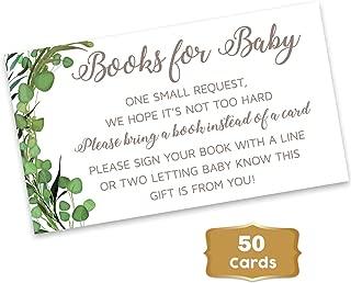 Gender Neutral - Baby Shower Boy or Girl Books for Baby. Set of 50 Green Leaf Rustic - Woodland Gender Neutral Books for Baby Request Cards - Baby Shower Fun Games Green Leaves