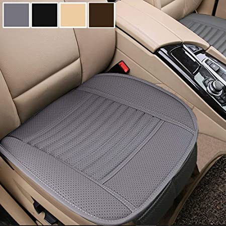 Beige Car PU Leather Breathable Rear Seat Cover Mat Cushion Chair Accessories 3D