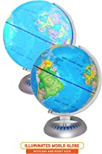 """Illuminated World Globe Lights by KinderBerries – 8"""" Globe of The World with Stand Night Lights for Kids - Built-in LED Light Earth Globe with Easy to Read Labels for Continents, Countries, Capitals"""