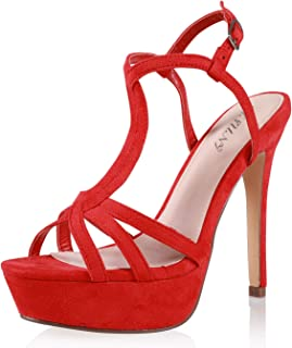 JSUN7 Women's Fashion Ankle Strap Open Round Toe Summer Platform Stiletto High Heel Sandal Pump Shoe