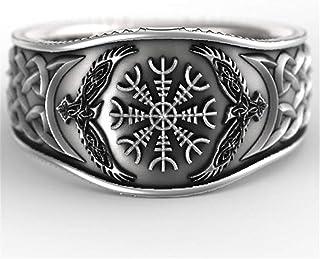 OGTFRWS الأسطورة الشمال الفايكينج بوصلة سلتيك خاتم رجالي (اللون: فضي، حجم الخاتم: 6)