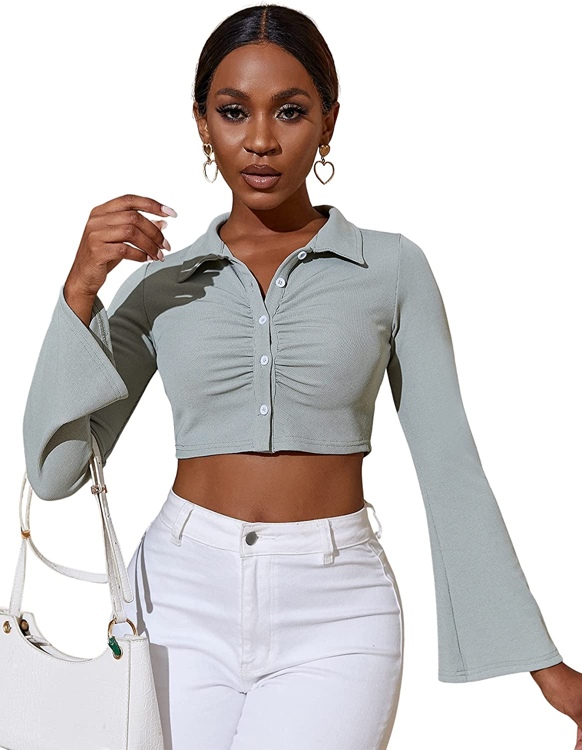 Milumia Women Button Down Bell Sleeve Blouse Crop Top Ruched Collared Shirt