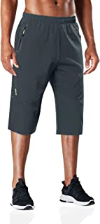 BIYLACLESEN Men's 3/4 Hiking Pants Outdoor Performance Running Jogger Capri Pants