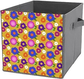 Cubes de rangement pliables en toile avec motif floral jaune moutarde - Grande capacité - Panier de rangement pliable et p...