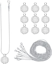 CrazyPiercing 10 Pack Bead Cages Pendants 25 x 20 mm with 10 Pack 24 Inches Snake Chain Necklaces