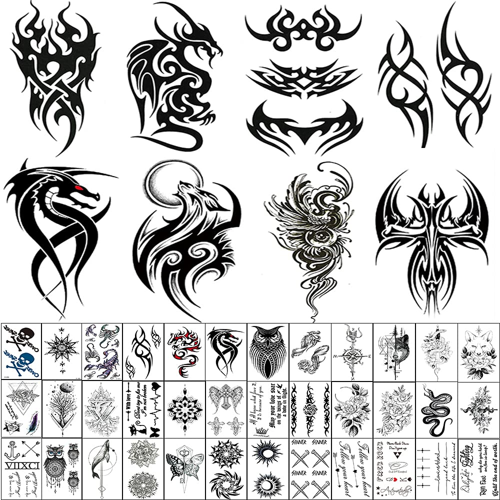 45 Sheets Temporary Tattoo Nippon regular agency for 8 Large Men Include New Orleans Mall Triba