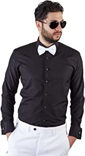 New Mens Tailored Slim Fit Black Tuxedo Shirt French Cuff Wrinkle Free by Azar