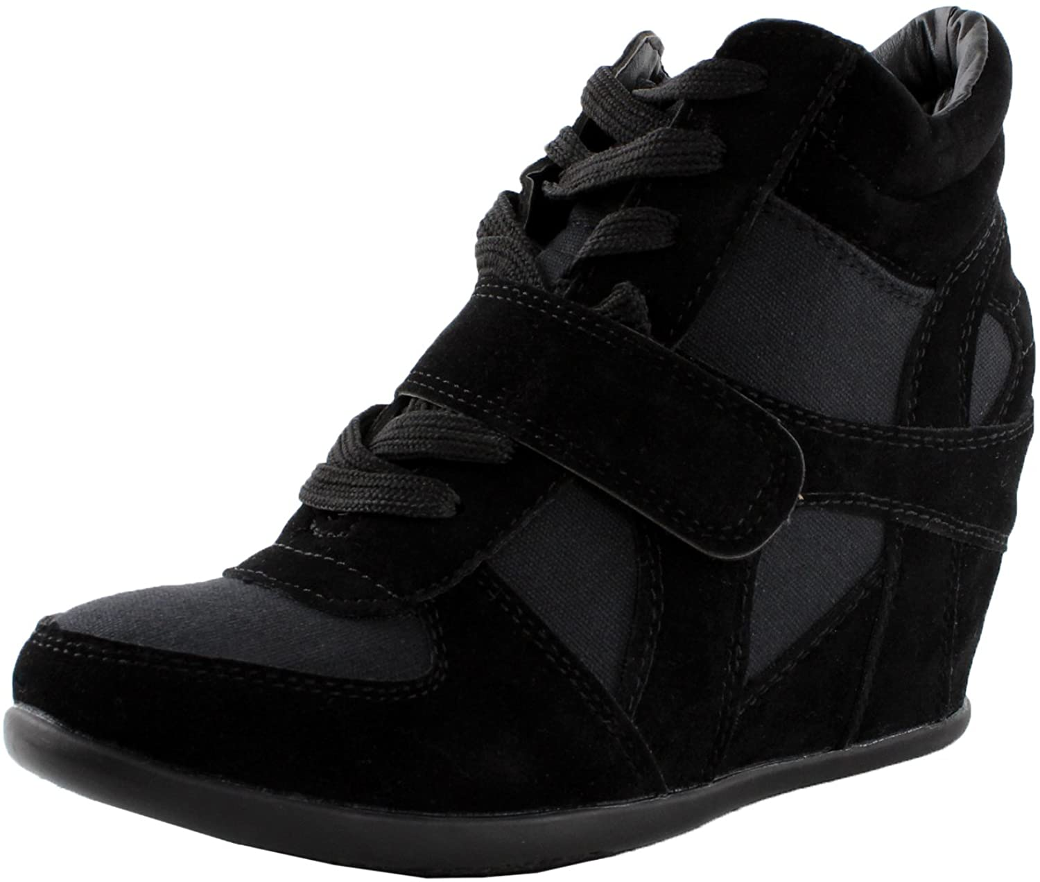 Top Moda SAMMY-40 High Top Velcro Womens Hidden Wedge Sneaker shoes