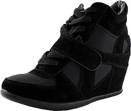 Top Moda Sammy-40 High Top Womens Hidden Wedge Sneaker Shoes