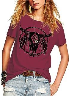 Romastory Womens Street Pattern T-Shirt Short Sleeve Loose Summer Top Tee