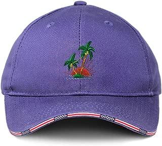 Custom American Flag Hat Tropical Sun Set Embroidery Design Cotton Strap Closure