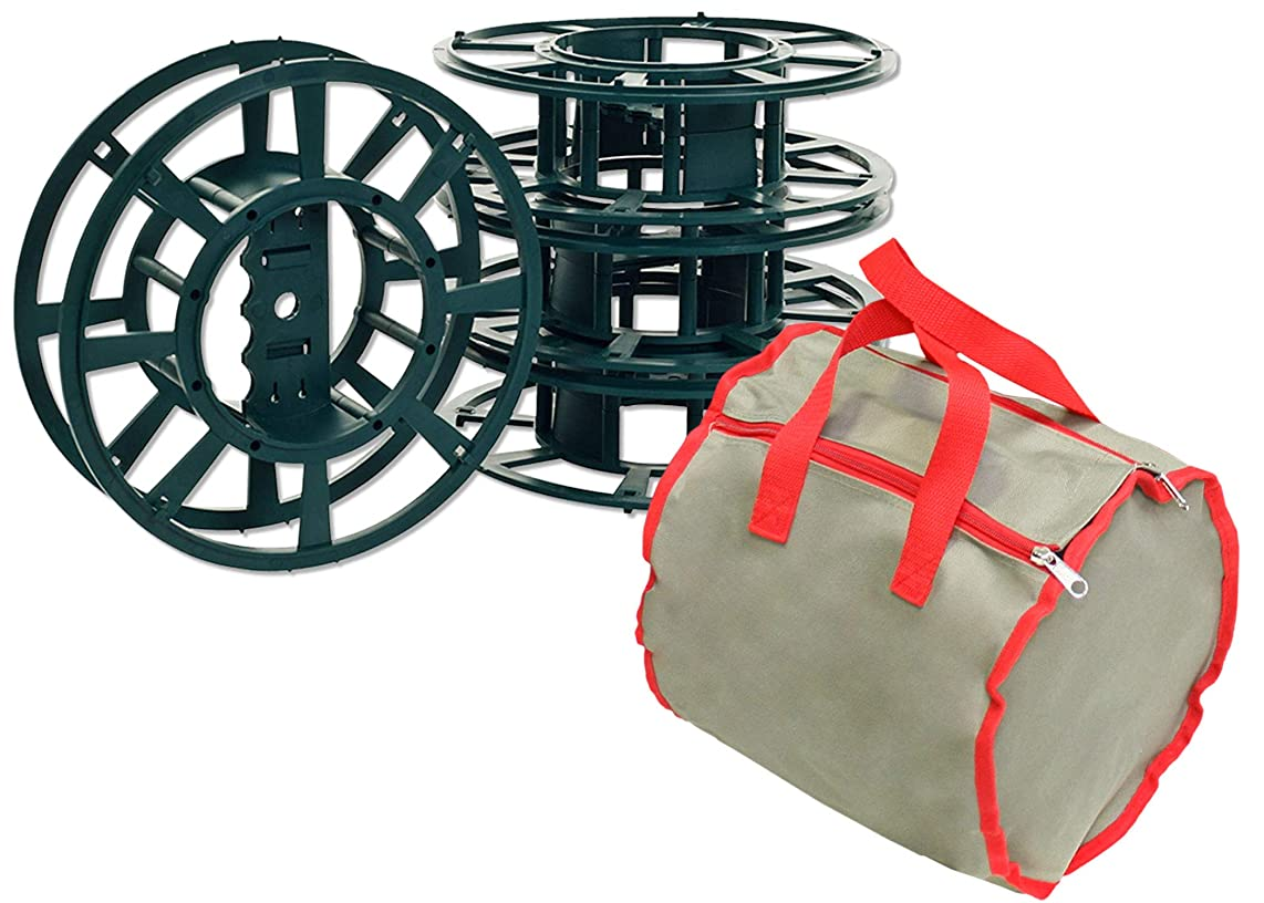 LAMINET Canvas Case Light Storage Kit - Khaki with RED Trim - 3 Storage Reels Each Reel Holds (1) 100 Mini Light Strand OR (1) 150 Icicle Light Strand