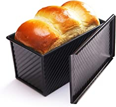 CHEFMADE Non-stick Bread Loaf Baking Pan with lid, Covered Corrugate Cookware Aluminum Steel Bakeware Loaf Pan Black