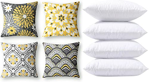 new arrival Phantoscope Bundles, Set of 4 New Living Series Dahlia and Orental Print Yellow and Grey Pillow Covers 18 x 18 inches & Set outlet online sale of 4 Pillow Inserts 18 x outlet online sale 18 inches outlet sale