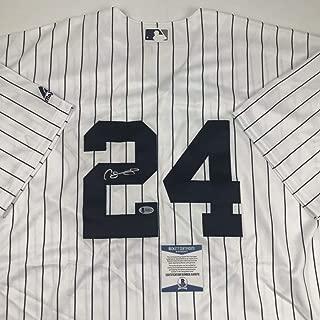 Autographed/Signed Gary Sanchez New York Pinstripe Baseball Jersey Beckett BAS COA