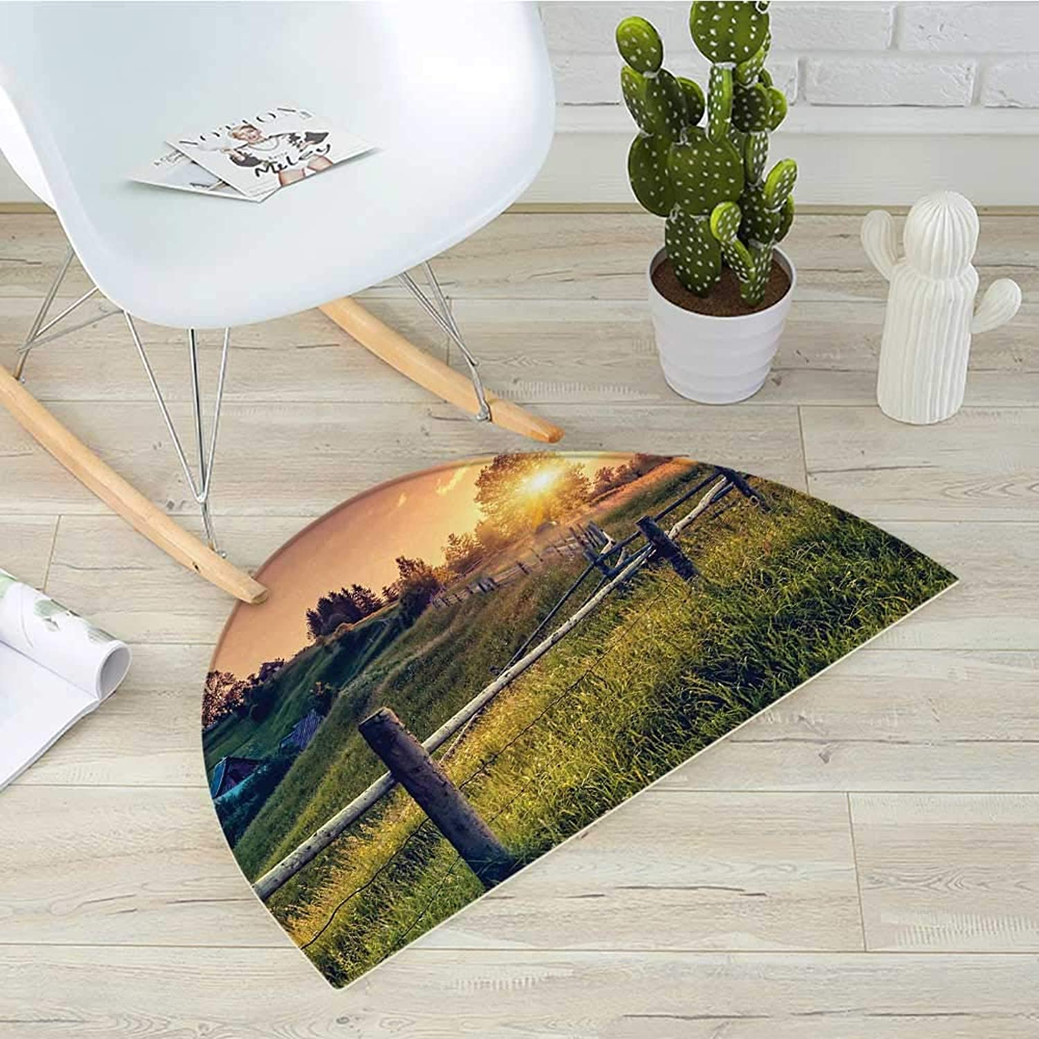 Europe Semicircular CushionMorning Sunbeams Over Countryside Farmhouse colorful Sky Carpathian Ukraine Entry Door Mat H 43.3  xD 64.9  Fern Green Yellow
