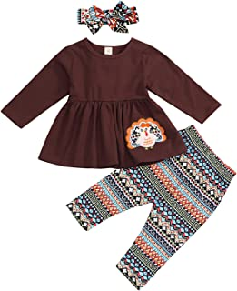 YOUNGER TREE Thanksgiving Baby Girls Outfit Long Sleeve Turkey Dress Top Geometry Pants 2Pcs Cotton Clothes Sets (5-6 Years, Brown)