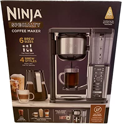Ninja Specialty Coffee Maker CM400, Removable Water Reservoir, Glass Carafe, Single-Cup Brewing Fold Away Cup Platform