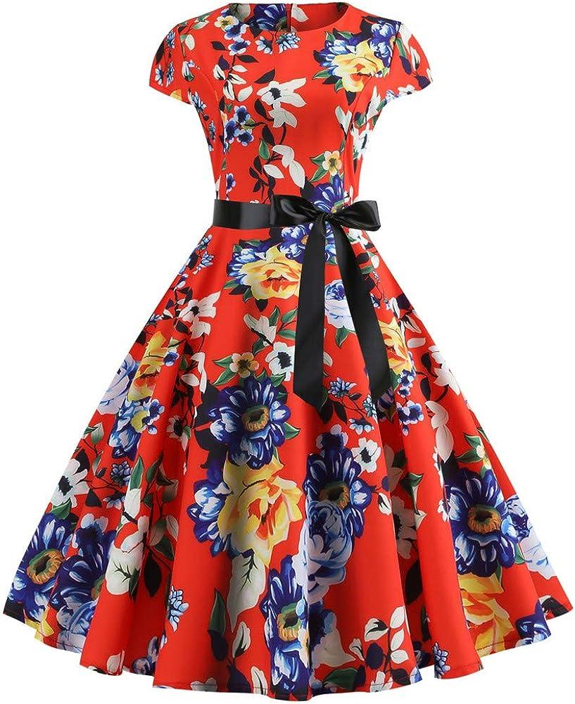 Women Dress Vintage 1950s Flower Slim Short Sleeve Dresses Hepburn Elegant Swing Dress Spring Summeres
