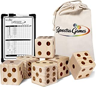 "Giant Wooden Yard Dice Set for Lawn Games and Outdoor Yard Games. Family Fun - Includes Larger Double Sided Yardzee and Farkle Dry Erase Scoreboard , 6 Dices (3.5""), Pen and Canvas Carrying Bag"