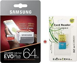 Samsung Electronics Scheda EVO PLUS microSDXC 128 GB 100 MB//s scheda di memoria mobile U3 Class10 con adattatore SD lettore USB microSD e PVC Pouch MB-MC128GA