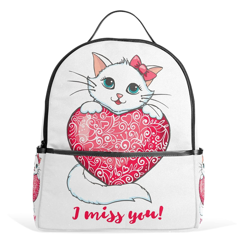 ミニチュア封筒オープナーマキク(MAKIKU) リュック レディース おしゃれ リュックサック 軽量 大容量 通学 高校生 中学生 小学生 白猫 猫柄 可愛い ホワイト 旅行 プレゼント対応