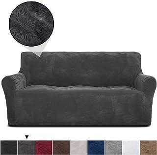 RHF Velvet-Sofa Slipcover, Stretch Couch Covers for 3 Cushion Couch-Couch Covers for Sofa-Sofa Covers for Living Room,Couch Covers for Dogs, Sofa Slipcover,Couch slipcover(Dark Grey-Sofa)