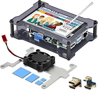 iuniker Carcasa táctil para Raspberry Pi 4, pantalla de 4 pulgadas con disipador de calor y carcasa de ventilador, monitor...