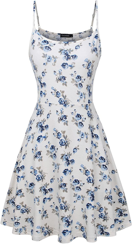 FANSIC Womens Sleeveless Floral Printed Swing Sundress Spaghetti Strap Dresses