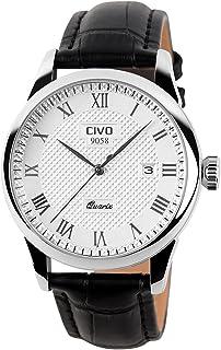 CIVO Mens Watches Leatehr Waterproof Watch Men Roman Numeral Date Calendar Simple Design Wrist Watches Casual Business Dress Fashion Classic Analogue Quartz Watches for Men Black