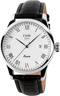 CIVO Mens Watches Leatehr Waterproof Watch Men Roman Numeral Date Calendar Simple Design Wrist Watches Casual Business Dress Fashion Classic Analogue Quartz Watches for Men Black