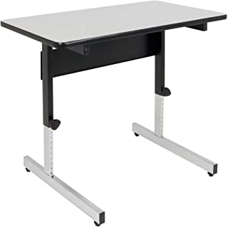 "Calico Designs Adapta Height Adjustable Office Desk, All-Purpose Utility Table, Sit to Stand up Desk Home Computer Desk, 23"" - 32"" in Powder Coated Black Frame and 1"" Thick Grey Top, 36 Inch"