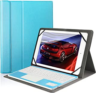 CoastaCloud Pu Leather Folio Bluetooth Keyboard Case Cover for Samsung Galaxy Note 10.1 N8010/N8000 (2012), Tab A 9.7 T555C/T550 Tablet with QWERTY Layout Removable Keyboard and Touchpad Sky Blue