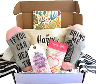 Special Birthday Womens Gift Basket Box Set for Her- With a Fancy Notebook, Natural 9'x6' Travel Cosmetic Bag, Funny socks, and a Relaxing Bath Salt