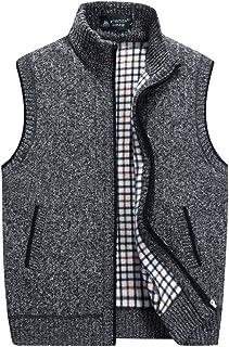 XinDao Men's Casual Stand Collar Zipper Sleeveless Knitted Lightweight Cardigan Sweater Fleece Wool Vest Office Outwear