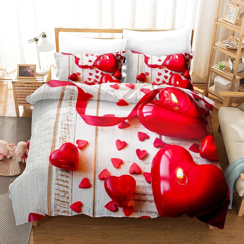Meimall Juego De Ropa De Cama De 3 Piezas Rojo Grano De Madera Cinta Corazón De Amor. 150X220 Cm Funda Nórdica Grande 3 Piezas Moderno Impreso Microfibra Edredón Ropa De Cama Conjunto Cierre De Cremal