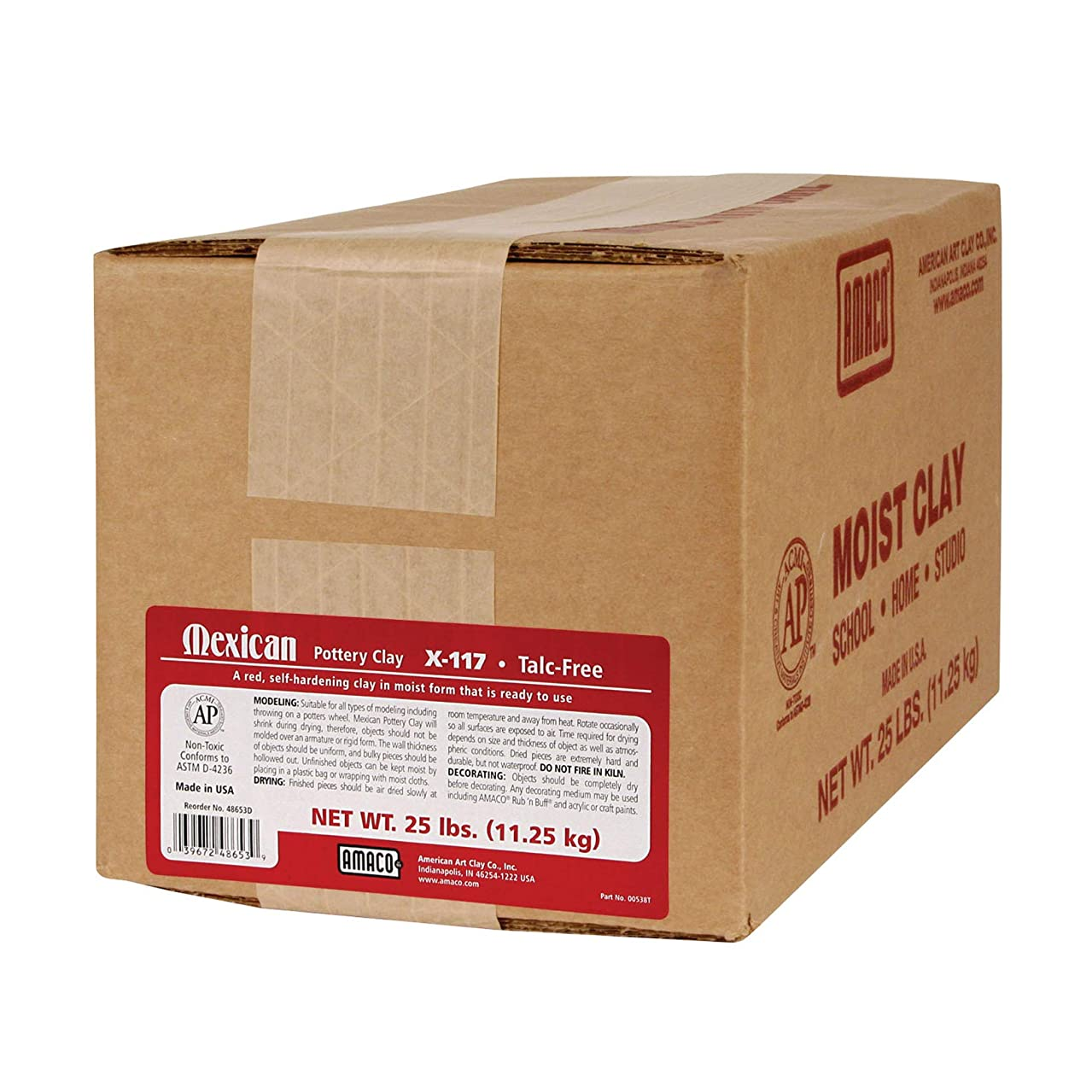 AMACO AMA48653D Mexican Pottery Self-Hardening Clay, 25 lbs.