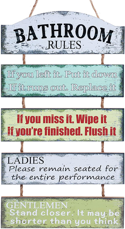 Bathroom Sign Rustic Bathroom Rules Wall Art Decor Farmhouse Decorations Funny Modern Vintage Cute Half Bathroom Sign
