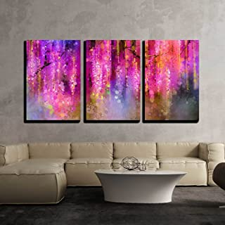 wall26 - 3 Piece Canvas Wall Art - Abstract Violet, Red and Yellow Color Flowers. Watercolor Painting - Modern Home Decor Stretched and Framed Ready to Hang - 16